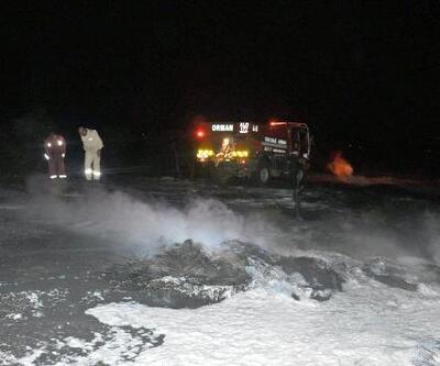 Ormanlık alanda araç lastiklerinin yakılması korkuttu