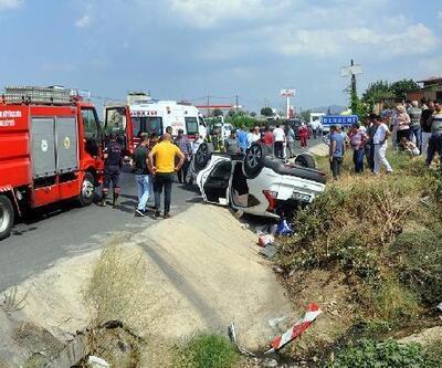 Takla atıp, devrilen otomobildeki karı koca yaralandı