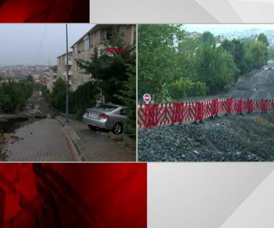 Yağıştan dolayı yol çökmüştü... Üsküdar'da son durum