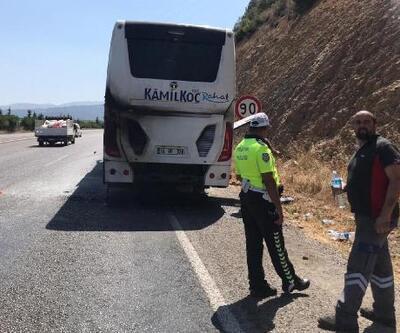 Tamir sonrası test sürüşündeki otobüste yangın çıktı