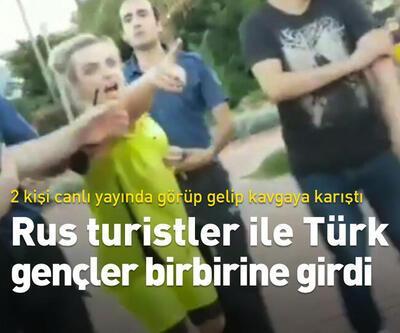 Rus turistler ile Türk gençler birbirine girdi...