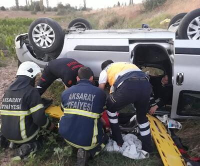 Hafif ticari araç şarampole devrildi: 5 yaralı