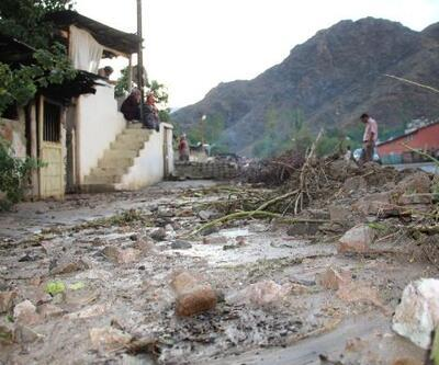 Yağmur suları, dağdaki taşları ve çalıları mahalleye taşıdı