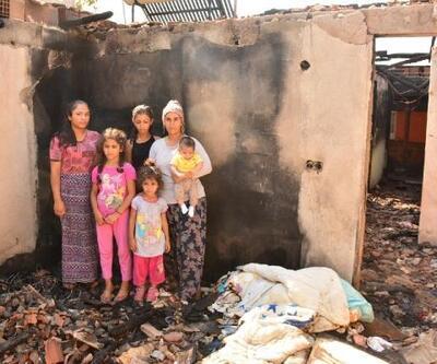 Evleri yanan 6 çocuklu aile sokakta kaldı