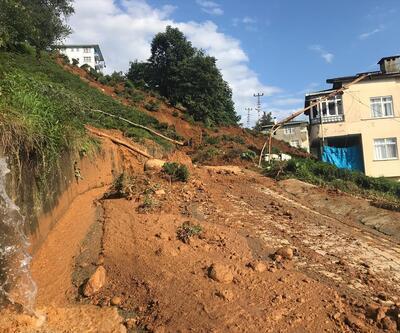 Rize'de yağış sonrası heyelan meydana geldi
