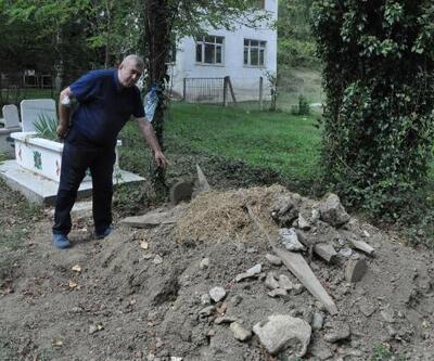 Ayının açtığı iddia edilen mezara fotokapan kuruldu