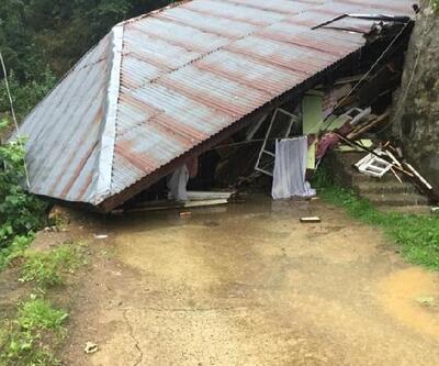 Rize'de heyelanda ev çöktü: 1 yaralı