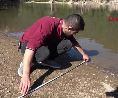 Gölün suyu 6 metre çekildi