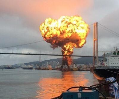 Güney Kore'de kargo gemisinde büyük yangın