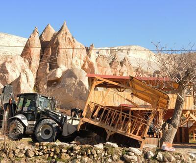 Kapadokya'daki 157 kaçak yapı yıkıldı