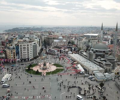 Taksim Camii inşaatındaki son durum havadan fotoğraflandı