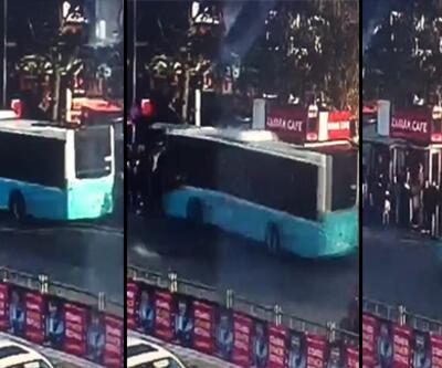 Beşiktaş'ta otobüs durağa böyle daldı