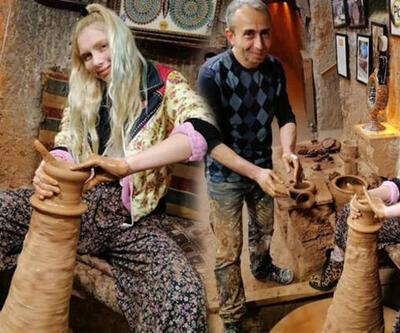 Aleyna Tilki, Kapadokya'da çömlek yaptı