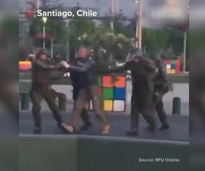 Şili polisinden şiddetli gözaltı