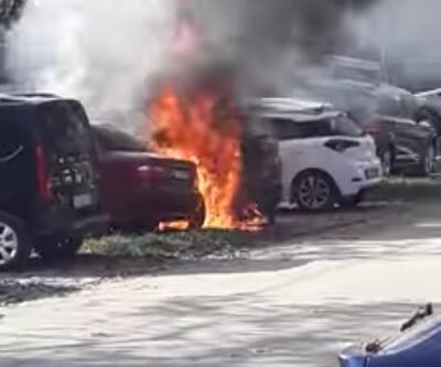 Mangal ateşinden araçlar yandı