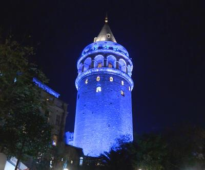 Galata Kulesi Dünya Çocuk Hakları Günü'nde mavi renkle ışıklandırıldı