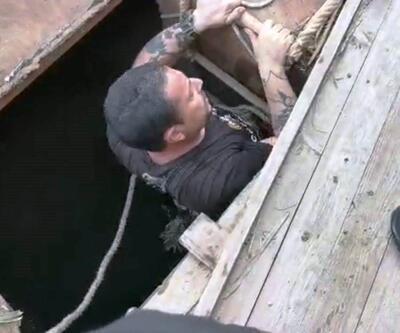 Köpeğini kurtarmak isterken kuyuda mahsur kaldı