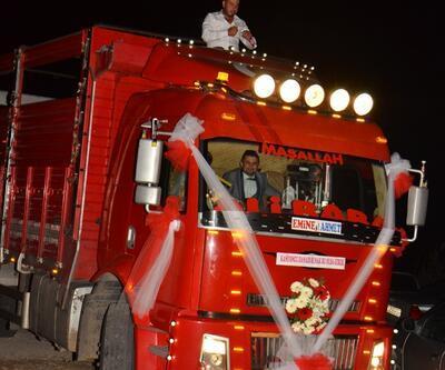 Gelin ve damada kamyon sürprizi
