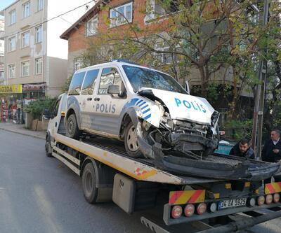 Polis aracı kovalamaca esnasında kaza yaptı