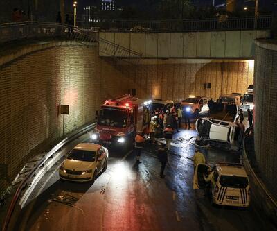 İstanbul'da otomobil alt geçide düştü: 1 yaralı
