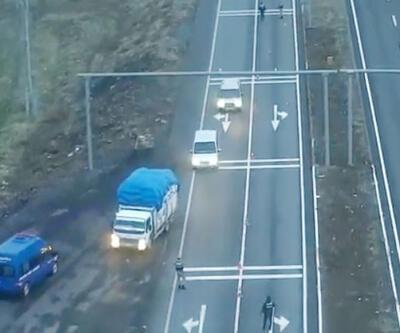 Drone ile takip edilen kamyonda 330 kilo esrar ele geçirildi