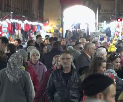 Turistler Noel alışverişi için Edirne'ye akın ediyor