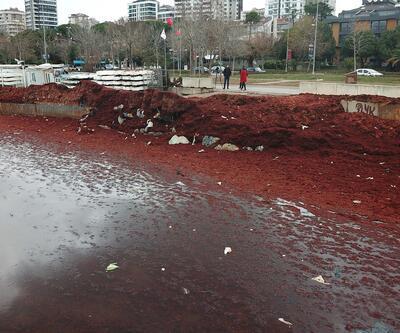 Caddebostan sahili kızıla döndü