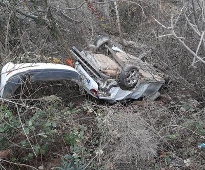 Kahta'da otomobil şarampole yuvarlandı: 2 yaralı