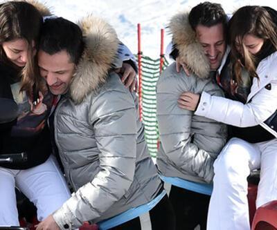 Ünlü çift soluğu Kartalkaya'da aldı! Kırık ayakla kar tatili