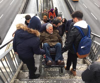 Beşyol metrobüs durağında asansör krizi