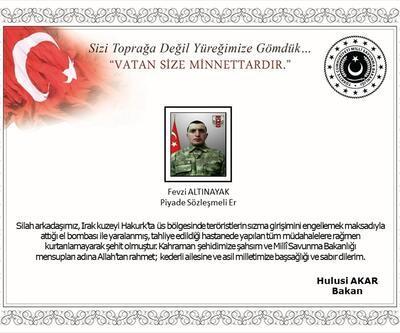 Bakan Akar'dan şehit asker için taziye mesajı