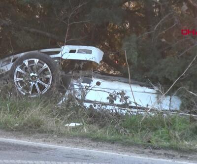 Buzlanan yolda kaza kamerada