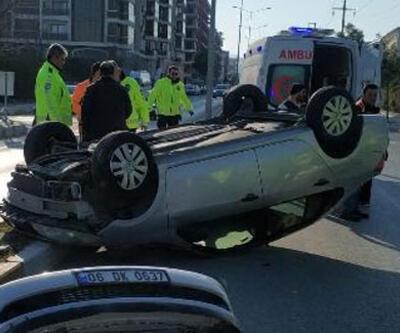Takla atan otomobildeki çift yaralandı