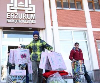 Erzurum'dan deprem bölgesine 2 TIR dolusu yardım