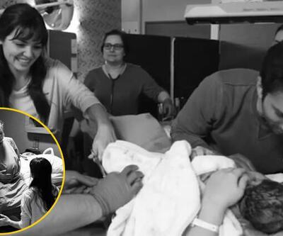 Hande Erçel yeğeninin göbek bağını kesti