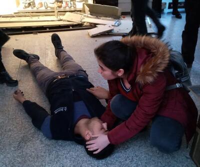2 metreden düştü! Tesadüfen geçen hemşire yardım etti
