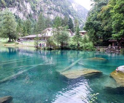 Blausee Gölü renkleri ve güzelliğiyle adeta büyülüyor!