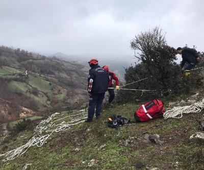 15 gündür uçurumda mahsur olan keçi, 5 saatte kurtarıldı