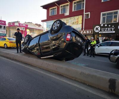Otomobile çarpan cip takla attı