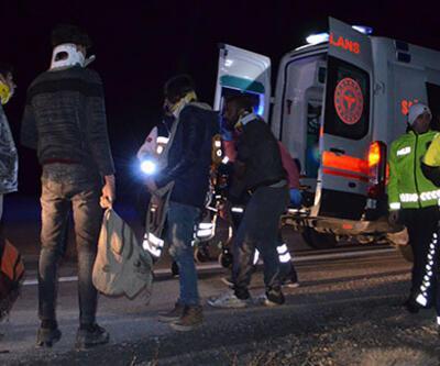 Sığınmacıları taşıyan minibüs devrildi