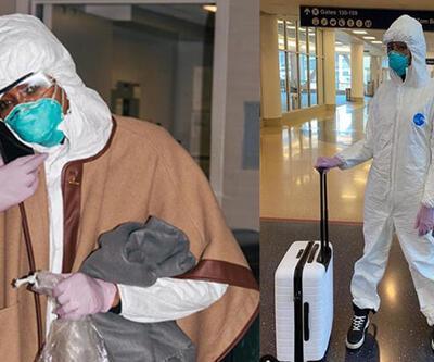 Ünlü yıldız havaalanına böyle gitti: Koronavirüs önlemi