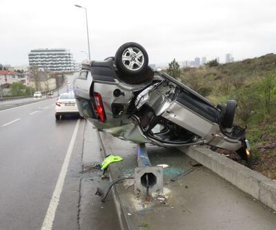 Doktor takla atıp ters dönen araçtan yaralı kurtuldu