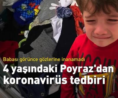 4 yaşındaki Poyraz'dan koronavirüs tedbiri