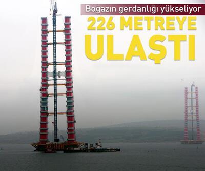 1915 Çanakkale Köprüsü'nün kuleleri  226 metreye ulaştı