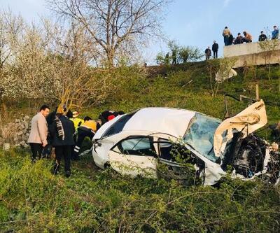 Samsun'da otomobil boş araziye uçtu: 3 yaralı