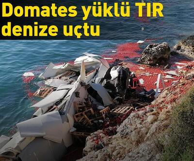 Silifke'de domates yüklü TIR denize uçtu