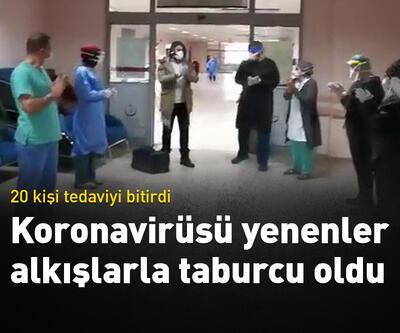 Koronavirüs tedavisi biten 20 kişi alkışlarla taburcu oldu