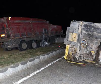 Kontrolden çıkan TIR devrildi: Sürücü kabinden fırladı