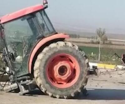 TIR'la çarpışan traktör ikiye bölündü