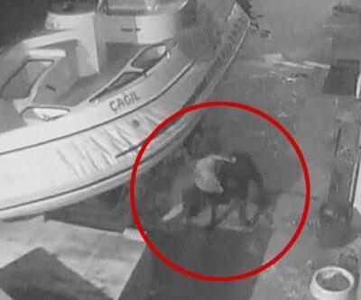Pitbull'un, bağlı olan 'rotweiller' cinsi köpeğe saldırdığı anlar görüntülendi
